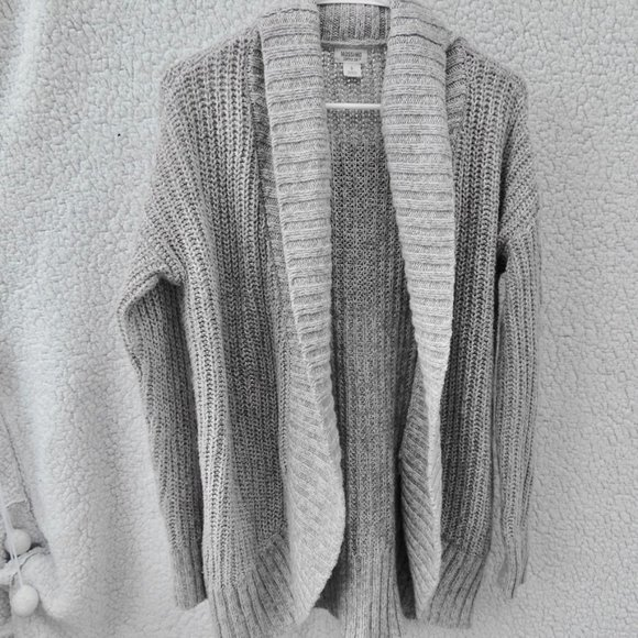 Gray Open Front Rope Knitted Long Sleeve Cardigan